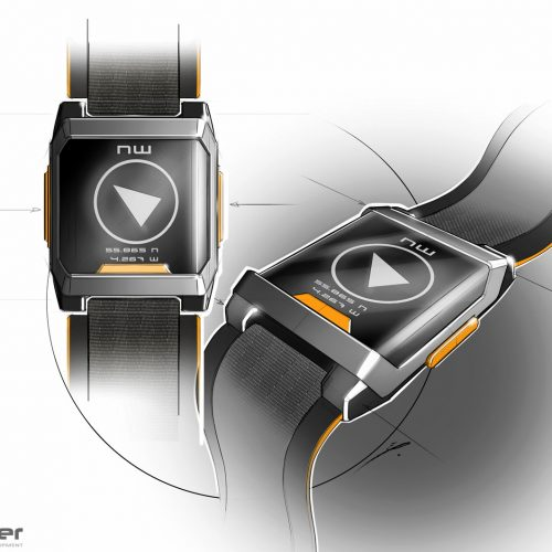 concept idsketchwater sketch drawing blender design new zealand wearable watch GPS